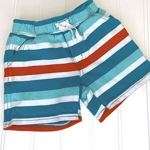 GYMBOREE TURQUOISE STRIPED PULL ON SHORTS 6-12 M